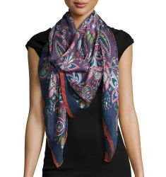 Epiphany Floral Silk Satin Scarf,Gray/Multicolor