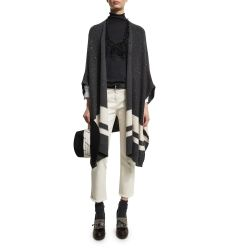 Paillette Striped Poncho, Monili-Trim Wide-Brim Fedora, Cropped Flare Jeans W/Frayed Hem, Pull-Throu