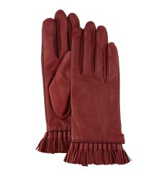 Leather Mini Tassel Gloves, Aubergine