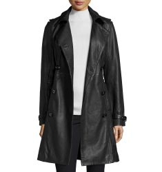 Double-Breasted Lambskin Leather Classic Trench Coat, Black