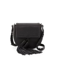 Isobel Leather Saddle Bag, Black