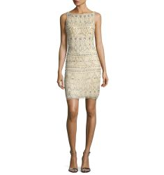 Sleeveless Beaded Cocktail Dress, Nude/Silver