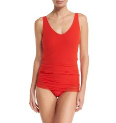 Solid One-Piece Swimsuit W/Tulle Overlay, Orange