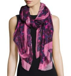Wild Rose Printed Scarf, Navy