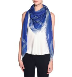 Modal/Silk Logo Scarf, Royal Blue