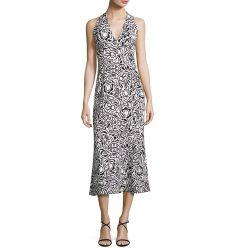 Tattoo-Print Sleeveless Midi Dress, Gesso/White/Black