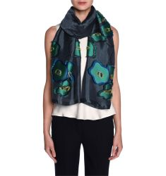 Floral Fil Coupe Scarf, Blue