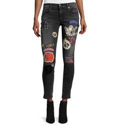 Halle Patch Mid-Rise Skinny Jeans, Black Rebel
