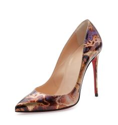 Pigalle Follies Printed 100mm Red Sole Pump, Brown/Multi