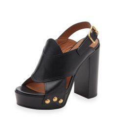 Crisscross Leather Slingback 100mm Sandal, Black