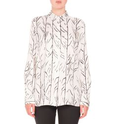 Vine-Print Long-Sleeve Blouse, White/Black