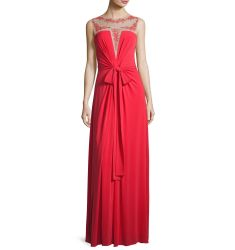 Embroidered Illusion-Neck Gown, Red
