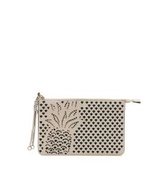 Myer Pineapple Leather Pouch, White