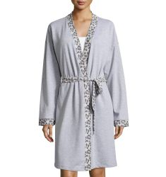 Leopard-Print Long-Sleeve Knit Robe, Heather Gray