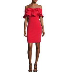 Off-the-Shoulder Pleated Stretch Crepe Cocktail Dress, Red