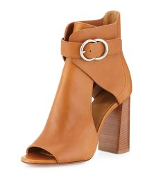Millie Open-Toe Leather Bootie, Tan