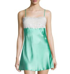 Lace-Trim Top Chemise, Seaglass