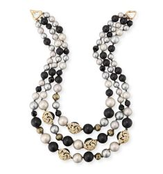 Three-Strand Beaded Futurist Necklace