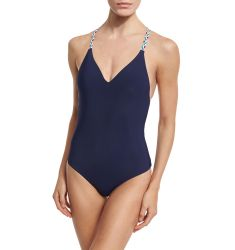 Friendship Bracelet Plunge-Neck One-Piece Swimsuit, Navy