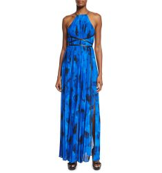 Sleeveless Floral-Print Pleated Gown, Lapis