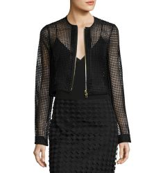 Chain Lace Cropped Jacket, Black