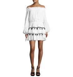 Lou Pompom Off-the-Shoulder Mini Dress, White