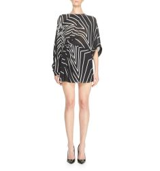 Gathered Star-Print Mini Dress, Black/White