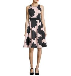 sleeveless petal stamp fit-and-flare dress, natural