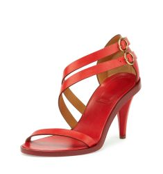 Double-Strap 80mm Sandal, Hot Coral