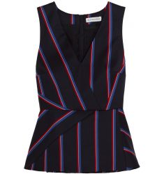 Miles striped wool and cotton-blend peplum top