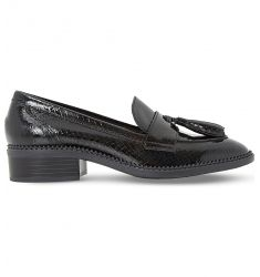 Glossie tasselled patent-leather loafers  Gandy zigzag-trim suede loafers Graphic flatform loafers G