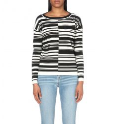 Block striped knitted top  V-neck knitted polo top Cosmo stretch-jersey cowl top Canne cotton-blend