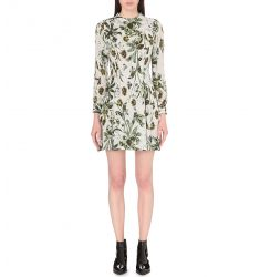 Marina floral-print silk dress  Floral-print silk dress Rimini crepe dress Codia crepe and silk-geor