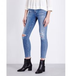 Rocket cropped skinny high-rise jeans  Chrissy skinny high-rise jeans Riley stepped-hem skinny mid-r