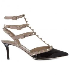 So Noir 65 patent-leather heeled sandals  Rockstud 65 leather courts
