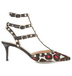 So noir patent-leather heeled sandals  Rockstud 100 patent-leather courts Rockstud 100 leather court