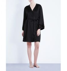 Morgan stretch-lace and silk-satin robe  V-neck knitted robe Checked woven robe Morgan Iconic silk-s