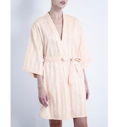 Shadow Stripe cotton robe  Classic cotton robe Hooded hydrocotton dressing gown Short hydrocotton dr