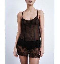 Blossom lace and mesh chemise  Embrace Lace stretch-lace chemise Shadow Stripe cotton nightdress Sha