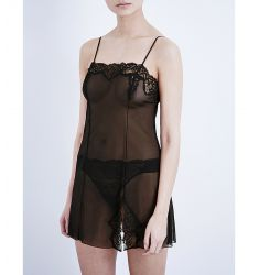 Sheer Enough lace chemise  Whisper Sweet Nothings lace and mesh coucou slip Opera chemise Georgina j