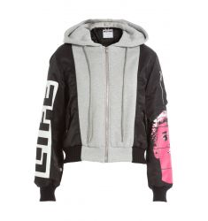Bomber Jacket with Jersey and Knit Detail