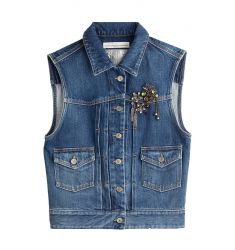 Denim Vest with Brooch