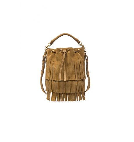 fc93cf6f55 Saint Laurent Small Suede Emmanuelle Fringe Bucket Bag