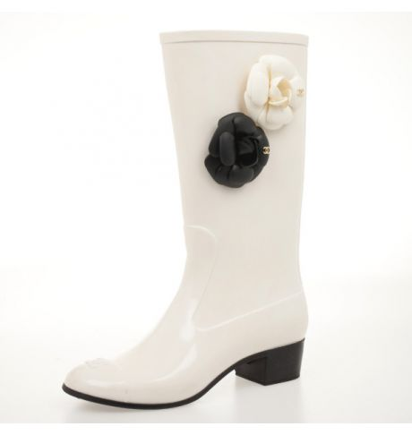 043a95226 Chanel White Rubber Camelia Rain Boots Size 36 on Sale,30% Off